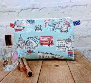 Handmade Large London Scene Make up Bag Cosmetic Bag Vanity Bag Wash Bag