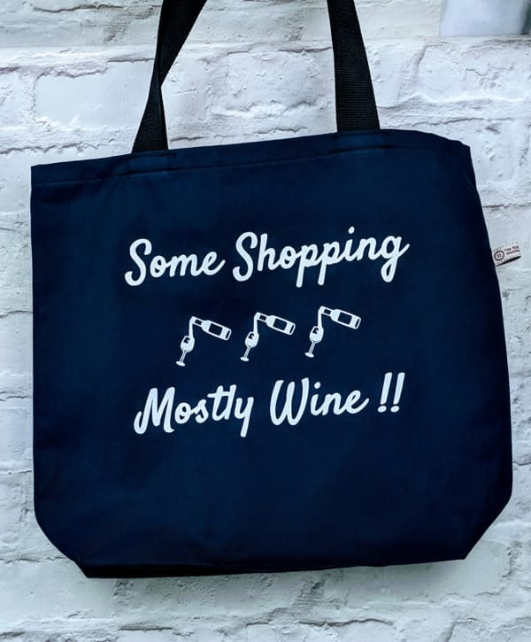 Handmade Tote Bag, Some shopping mostly wine