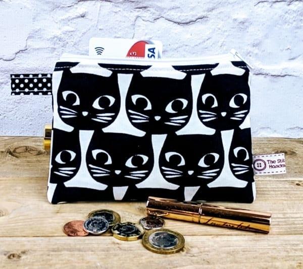 Coin Purse, Zipped Purse, Black Cat Purse